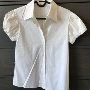 Theory bubble sleeve white shirt size p